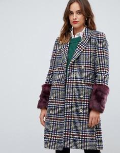 Пальто с искусственным мехом Y.A.S Heritage - Мульти