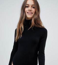 Черная футболка-поло с длинными рукавами ASOS DESIGN Petite - Черный