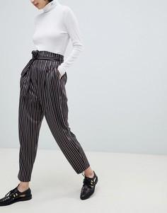 Зауженные брюки в полоску с завышенной талией ASOS DESIGN - Мульти