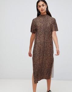 Платье-футболка макси с леопардовым принтом Wednesdays Girl - Коричневый