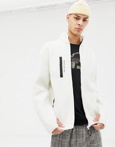 Белый свитер на молнии из искусственного меха SWEET SKTBS - Белый