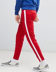 Красные брюки с белыми полосками по бокам Bershka - Красный