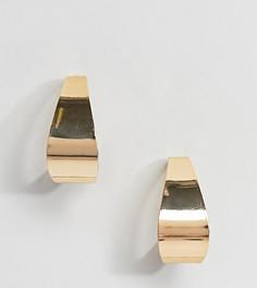 DesignB London gold flat teardrop hoop earrings - Золотой