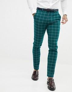 Зеленые зауженные брюки в крупную клетку ASOS DESIGN - Зеленый