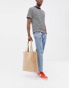 Коричневая сумка-тоут из бумаги с пластиковым покрытием ASOS DESIGN - Коричневый