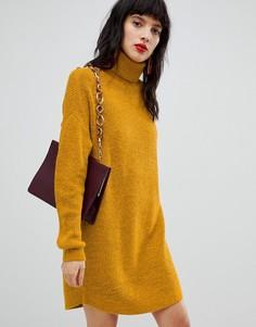 Трикотажное платье с отворачивающимся воротником Vero Moda - Желтый