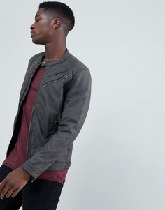 Байкерская куртка из искусственной кожи с двойной молнией Esprit - Серый