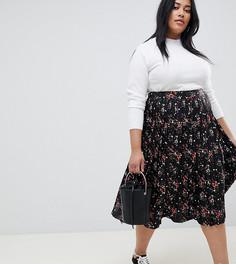 Плиссированная юбка миди с принтом цветов и звезд Influence Plus - Черный