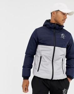 Темно-синяя дутая куртка в стиле колор блок с капюшоном Gym King - Темно-синий