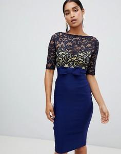 Платье-футляр с рукавами 3/4 и кружевным лифом Vesper - Темно-синий