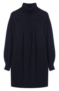 Платье из смеси хлопка и шерсти с высоким воротником Chloé