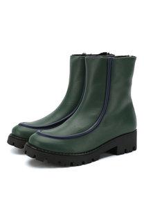Кожаные ботинки с меховой отделкой Marni