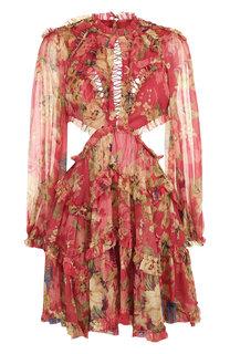 Шелковое мини-платье с оборками и принтом Zimmermann