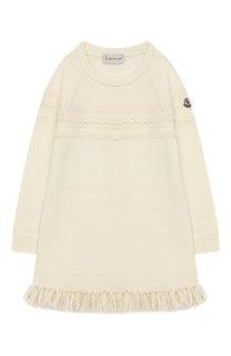 Удлиненный пуловер из шерсти с бахромой Moncler Enfant
