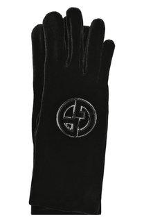 Текстильные перчатки с логотипом бренда Giorgio Armani
