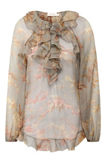 Шелковая блуза с оборками и принтом Zimmermann