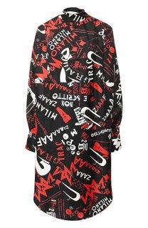 Шелковое платье с воротником-стойкой и принтом MSGM