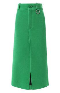 Шерстяная юбка-миди с разрезом Balenciaga