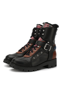Кожаные ботинки с внутренней меховой отделкой на шнуровке Dsquared2