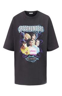 Хлопковая футболка с принтом Balenciaga
