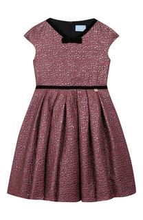 Платье с металлизированной отделкой и защипами Lanvin