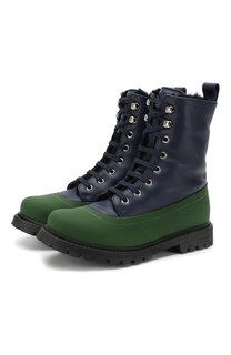Кожаные ботинки на шнуровке с меховой отделкой Marni