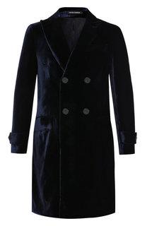 Двубортное пальто из вискозы Emporio Armani