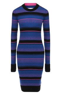 Шерстяное платье в контрастную полоску Maison Margiela