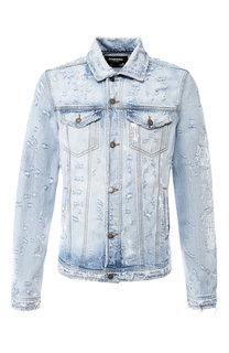 Джинсовая куртка на пуговицах с принтом Dom Rebel