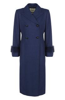Двубортное пальто из смеси шерсти и кашемира с меховой отделкой Fendi