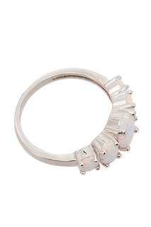Серебристое кольцо с кристаллами Exclaim