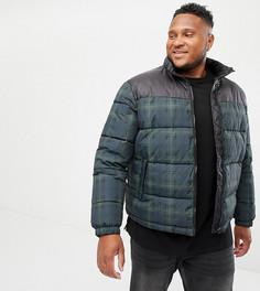 Темно-синяя дутая куртка в клетку New Look Plus - Темно-синий