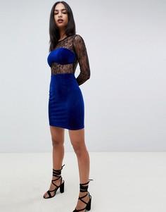 Кружевное платье мини с бархатной отделкой ASOS DESIGN - Синий