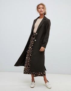 Длинное пальто с поясом на спинке New Look - Зеленый