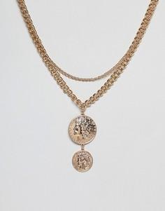 Золотистое ожерелье с монетой Missguided - Золотой