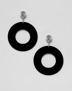 Черные серьги-подвески со стразами и резиновым кольцом Missguided - Черный