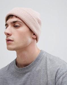Розовая фактурная шапка-бини ASOS DESIGN - Розовый