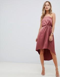 Атласное платье-бандо миди с узлом на спине ASOS DESIGN - Розовый