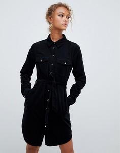 Вельветовое платье-рубашка New Look - Черный