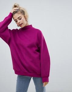 Фиолетовый oversize-свитер с высоким воротом Bershka - Фиолетовый