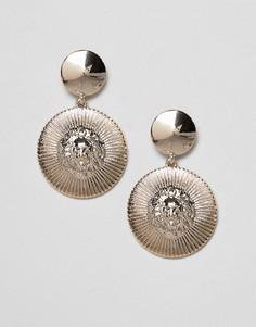 Серьги-подвески в форме диска Missguided - Золотой
