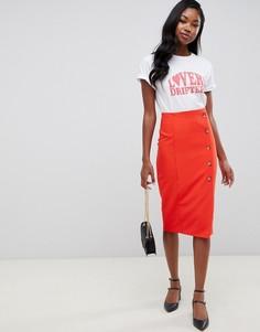 Красная юбка-карандаш миди с пуговицами Miss Selfridge - Красный