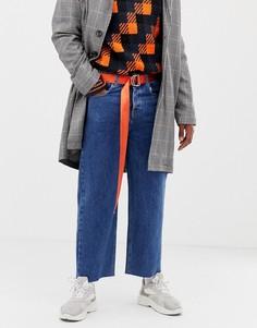 Выбеленные широкие джинсы с необработанными краями COLLUSION - Синий