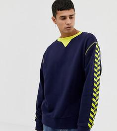 COLLUSION regular fit navy sweatshirt with yellow taping - Темно-синий