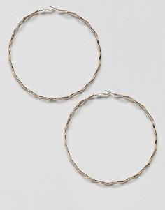 Золотистые крученые серьги-кольца Missguided - Золотой