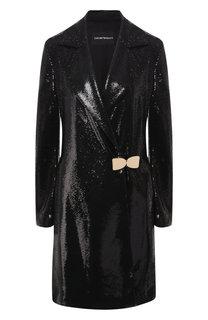 Пальто с пайетками и отложным воротником Emporio Armani