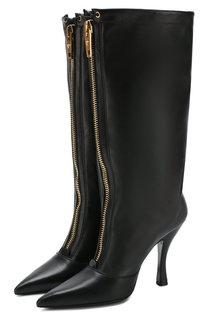 Кожаные сапоги с молнией на шпильке Versace