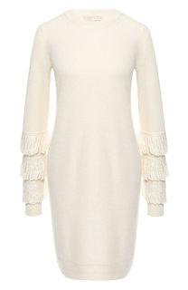 Платье из смеси шерсти и вискозы с бахромой MICHAEL Michael Kors