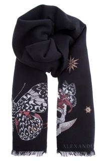 Черный шарф с рисунком Alexander Mc Queen