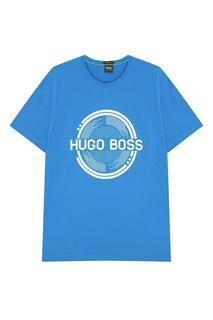 Синяя футболка с логотипом Boss Green